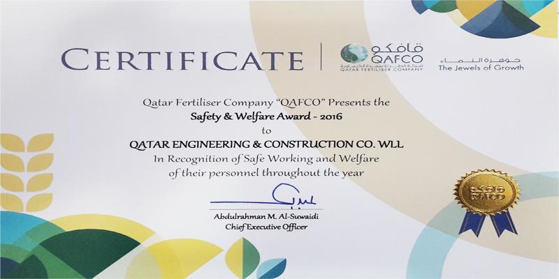 QAFCO Safety and Welfare Award 2016